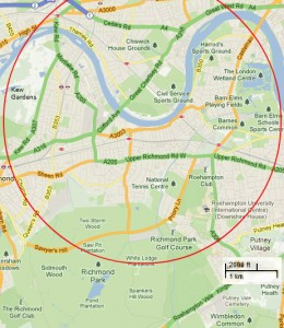 Kew Gardens and Richmond Park are also within range